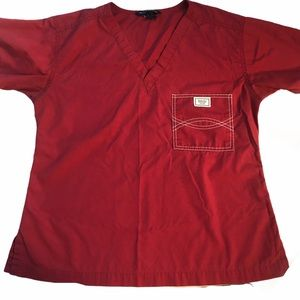 Blue Sky Classic Shelby Scrub Top. Small. Red